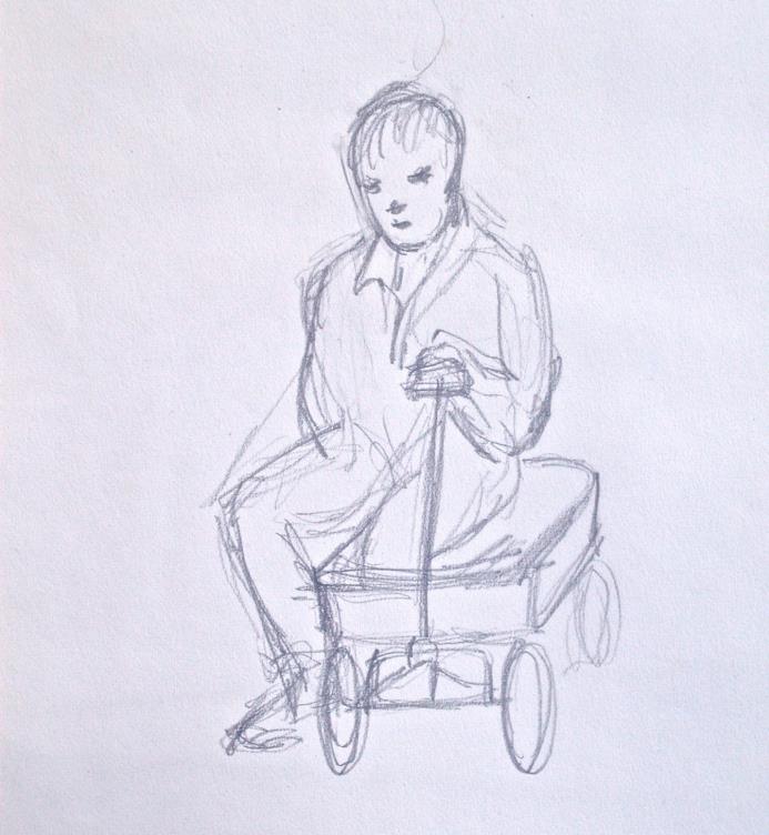 Dorothy Eaton Drawing (VIII)  Boy in Wagon