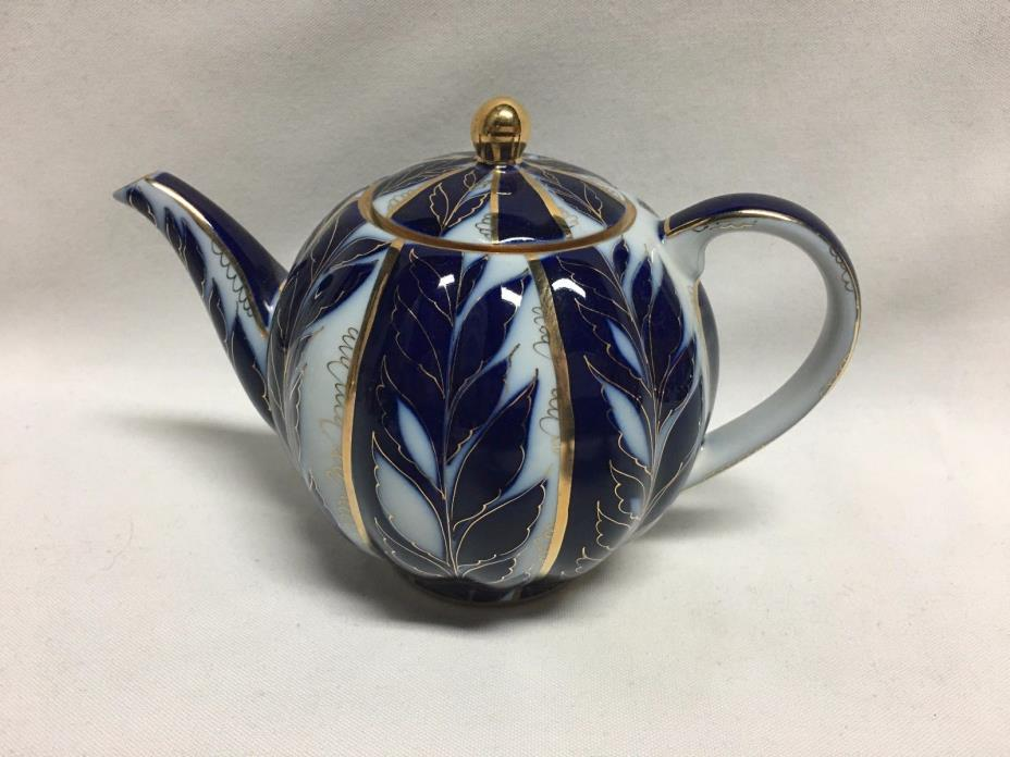 Lomonosov Russia Winter Evening Night Cobalt Blue Gold Teapot