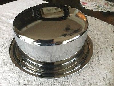 VTG EVEREDY STAINLESS STEEL CHROME COVERED LOCK LID CAKE PAN CARRIER PLATTER