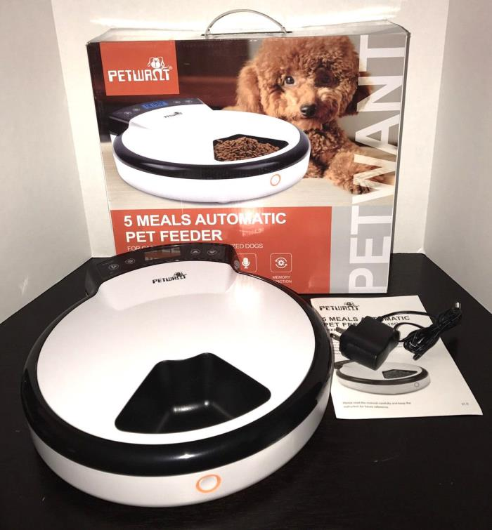 Petwant 5 Meal Automatic Pet Feeder Cats Small Medium Dog Voice Recorder PF-105