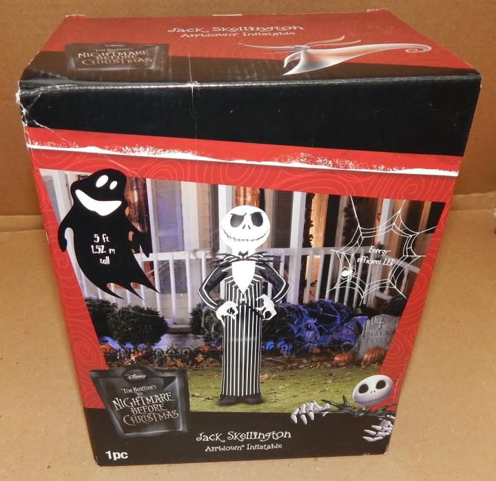 Halloween Jack Skellington Airblown Inflatable LED Disney 5ft Tim Burton's 124T
