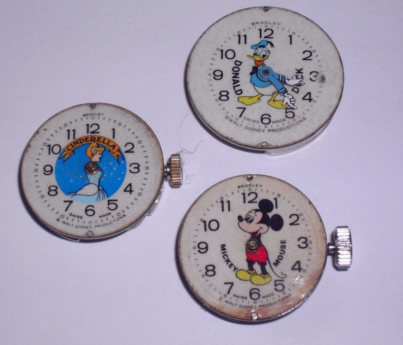 Vintage Bradley Disney Watch Lot Mickey Mouse Cinderella Donald Duck PART REPAIR