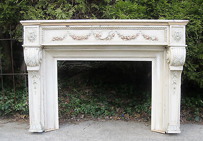FRENCH  FIREPLACE SHABBY CHIC LOUIS XVI  HAND CARVED