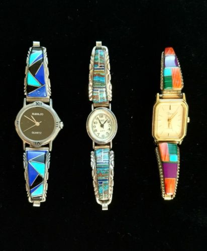 Three Vintage Sterling Silver Native American Zuni Inlaid Watches