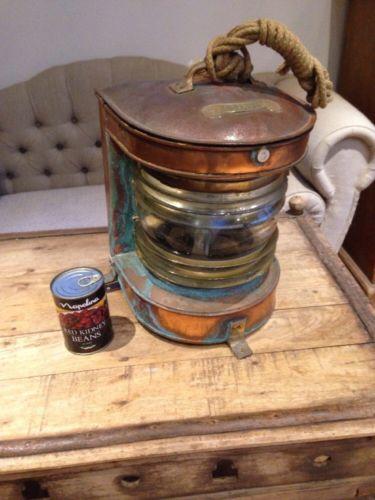 Vintage ships masthead lamp light large copper