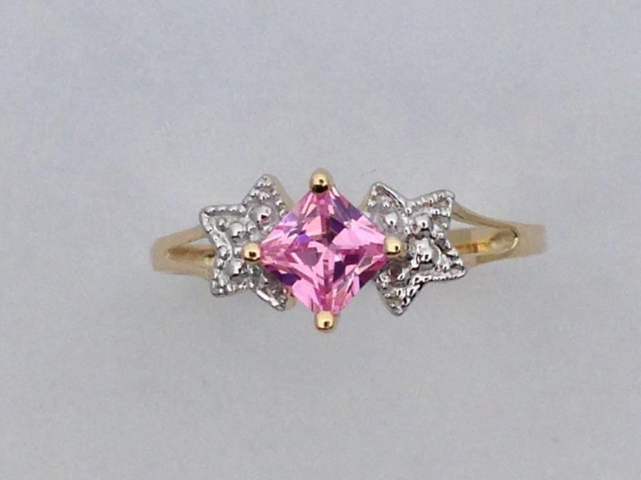 Pink Cubic Zirconia Ring Solid 14kt Yellow Gold