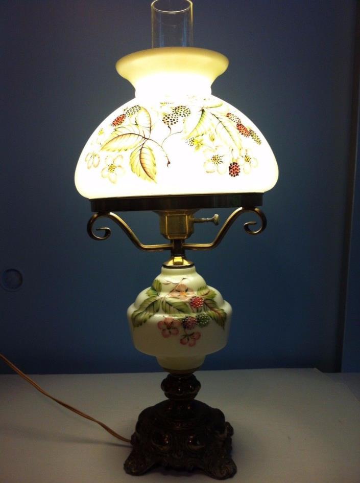 Vintage Cambridge Parlor Table Hurricane Painted Milk Glass Electric Lamp