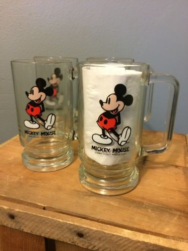 Vtg Mickey Mouse Glass Mugs Lot 4 Beer Stein Cup Disney 70s 80s VGC 5.5 Tall