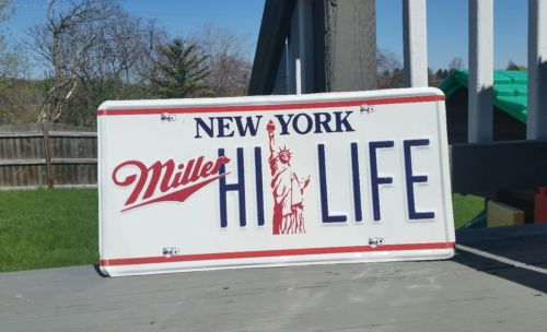Miller High Life Beer Sign, New York License Plate  Statue of Liberty. Metal/Tin