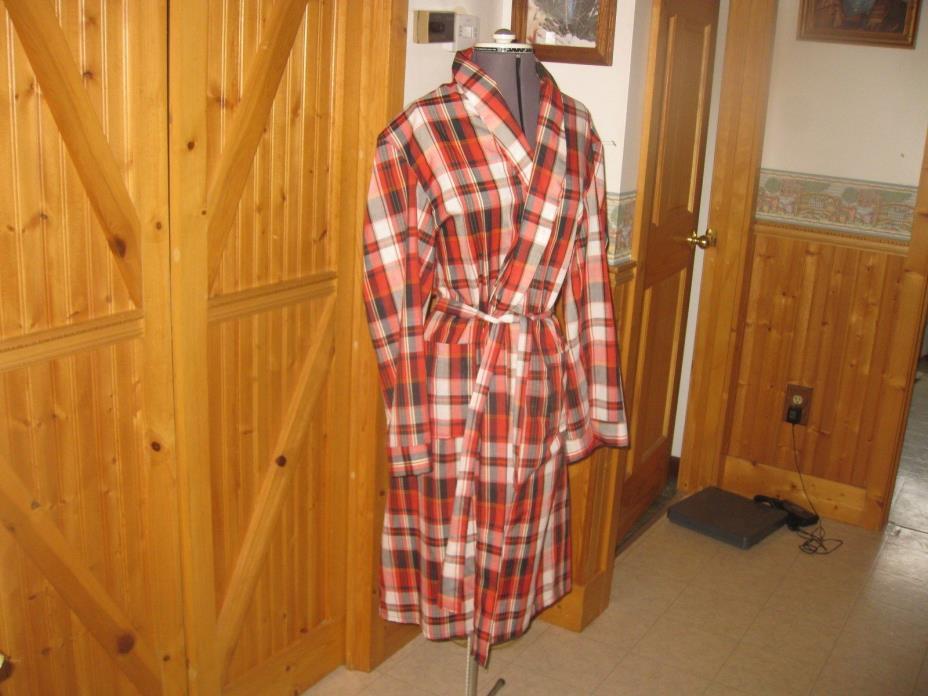 Mens Vtg Plaid Lightweight Robe Smoking Jacket Red Black  Plaid Cotton Blend LG