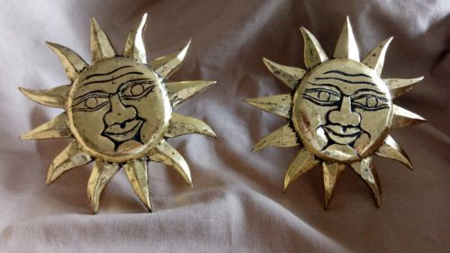 Sun Sunburst Ray Face Celestial Gold Curtain Holders Pair Set of Two