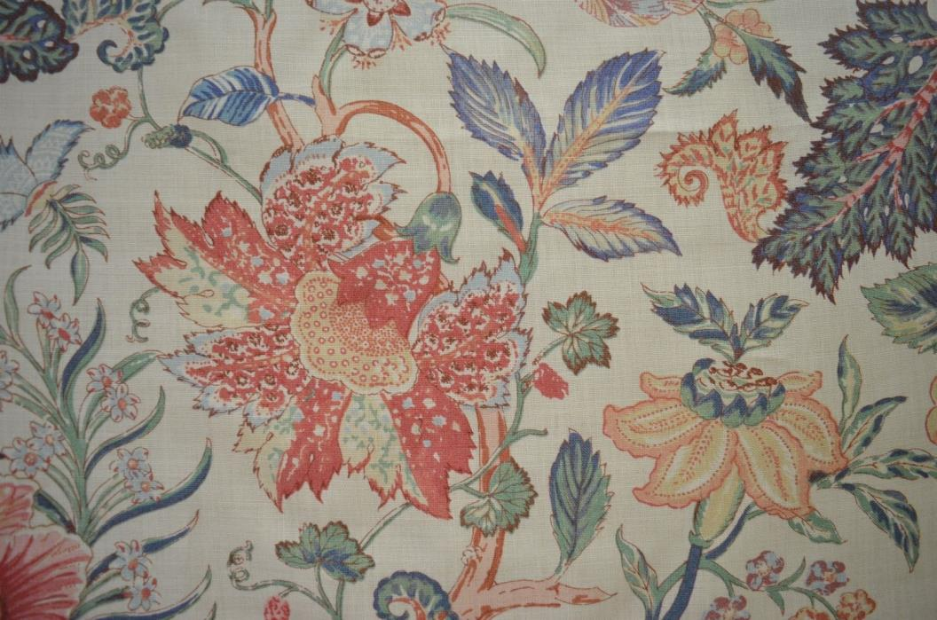 "GORGEOUS HIGH END DECORATOR FLORAL LINEN – TRAVERS ""BOROBADUR"" SS735"
