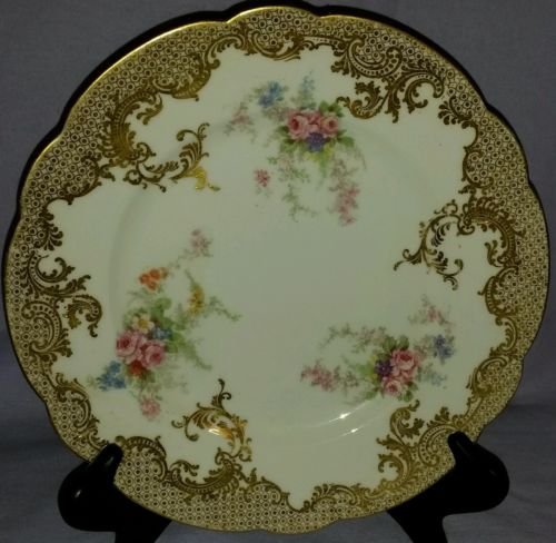ANTIQUE LIMOGES CABINET DISPLAY PLATE WITH CASCADING FLOWERS & HEAVY GOLD