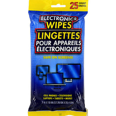 Electronic Wipes 25 Count For iPhones Monitors Flat Screen TVs Cell phones iPad