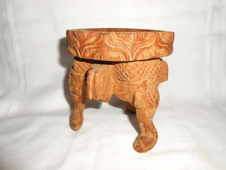 Carved Wood 3 Elephant Head Trunks for Legs Candle or Dish Stand