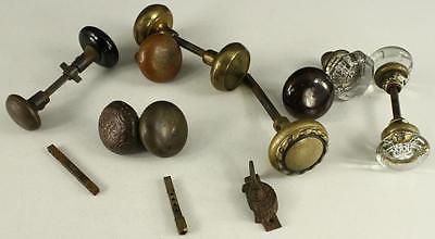 Vintage Architecture Doorknob Lot Metal Brass Brown COMPOSITE Glass Round 12PCS