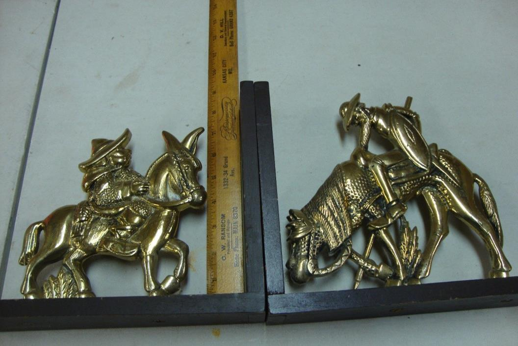 Antique Pair of  Brass & wood BOOKENDS- RARE- from Bogata, Columbia