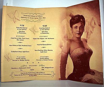 LENA HORNE 1950 - Autographed Menu