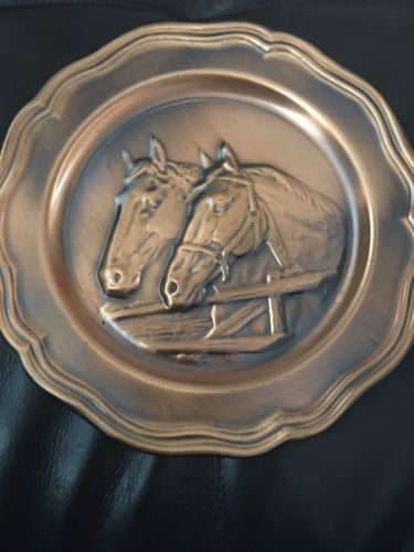 Hammered Copper Decorative Horse Plate Hanging Wall Decor Vintage Country