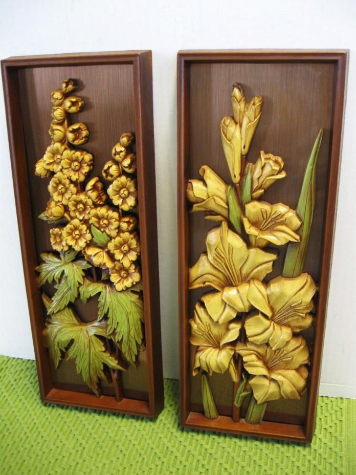 Retro Copper 3-D Wall Hanging Plaques Still Life Copper Craft Guild / Dart SET/2