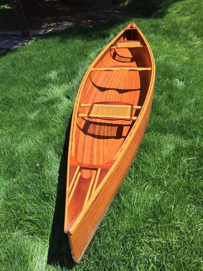 16' Cedar Strip Wood Canoe