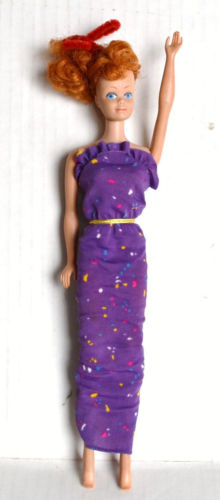 Vintage 1960s Mattel MIDGE Straight Leg Red Head Doll in Purple Dress