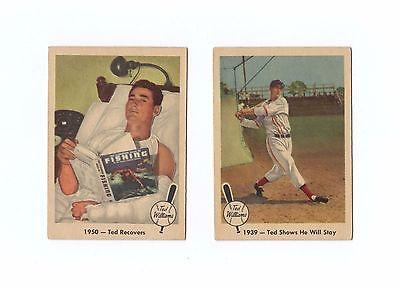 (2) 1959 Fleer TED WILLIAMS Baseball Greatest Cards #13 1939, #41 1950 Lot