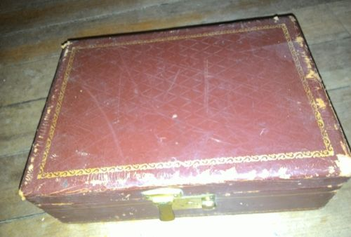 Old VINTAGE Leather Covered Wood Jewelry Trinket Dresser Storage Box