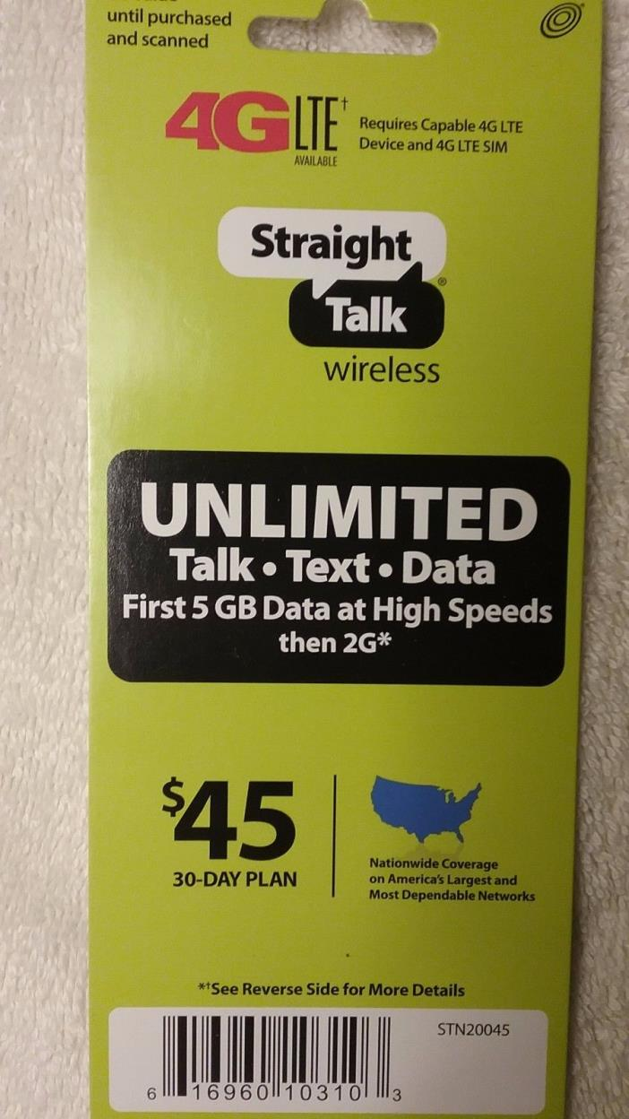 Straight Talk Refill Card 30 Day $45 Prepaid Unlimited Service 5GB Data Top Up