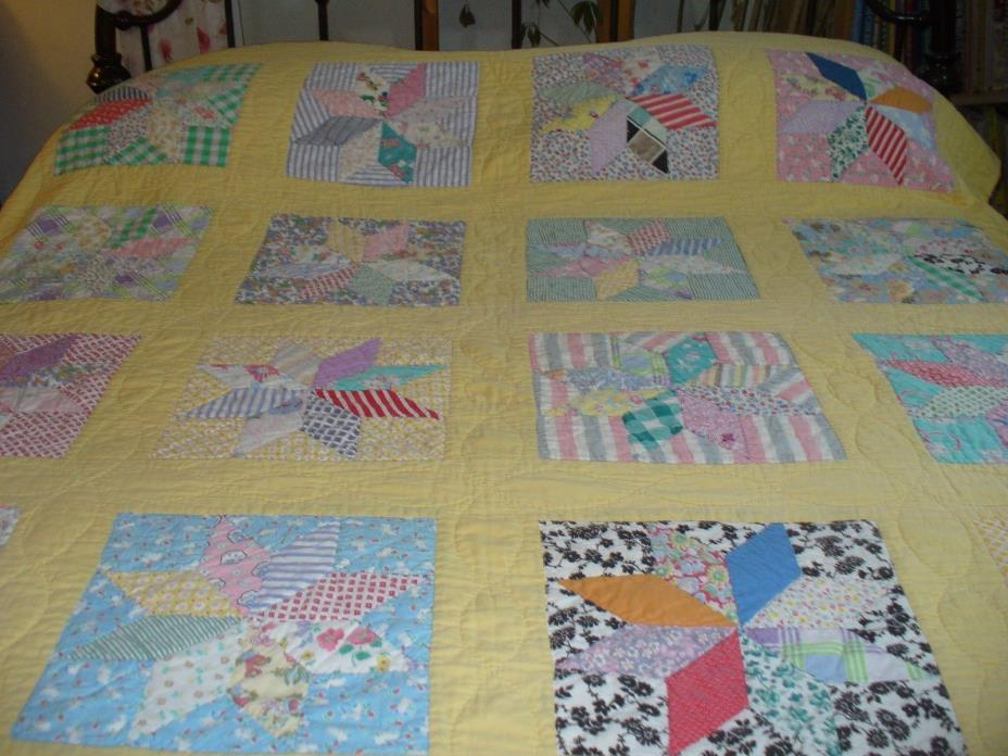VINTAGE EIGHT POINT STAR QUILT~~~~COLORFUL~~~HANDMADE~~~