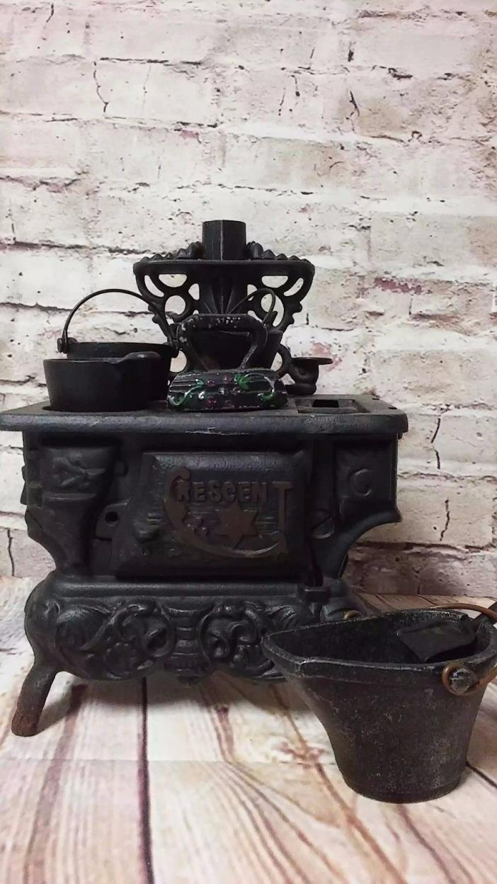 Stove Cast Iron Vintage Toy Antique Cresent Wood Minature