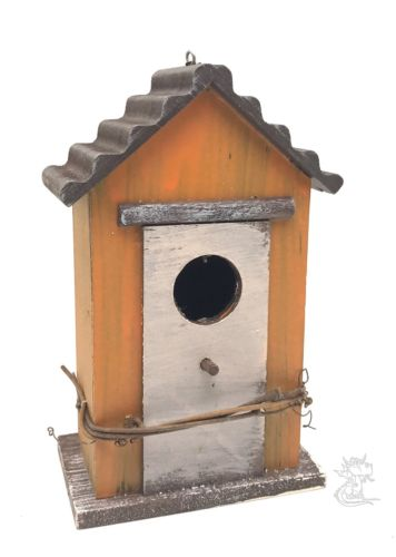 Decorative Bird Barn Orange House Wooden Chain Hanger Rustic New