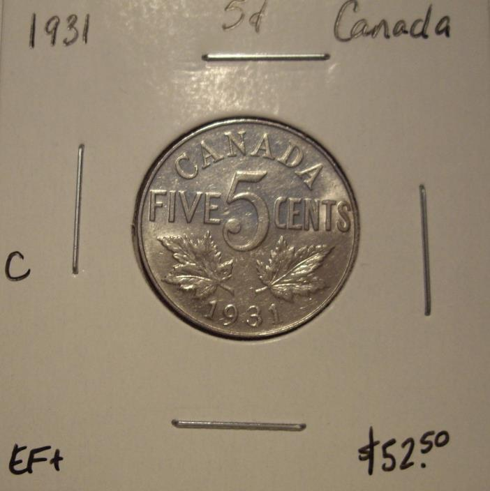 C Canada George V 1931 Five Cents -  EF+