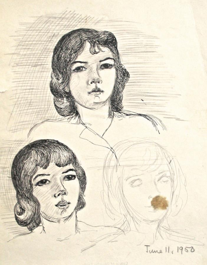 Dorothy Eaton Drawing (XXII) Studies of Female Faces