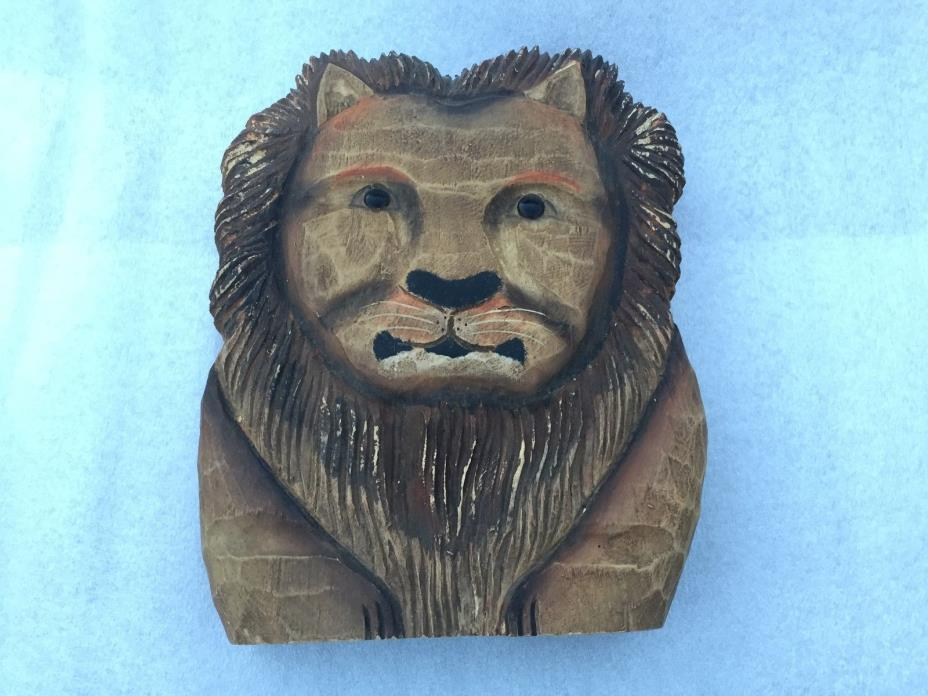 JAMES HADDON Handpainted CAT Lion Carving Folk Art Wood Figurine SIGNED