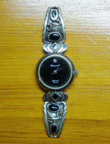 ROBERT BECENTI Native American Navajo Sterling Silver Black Onyx Watch Band Tips