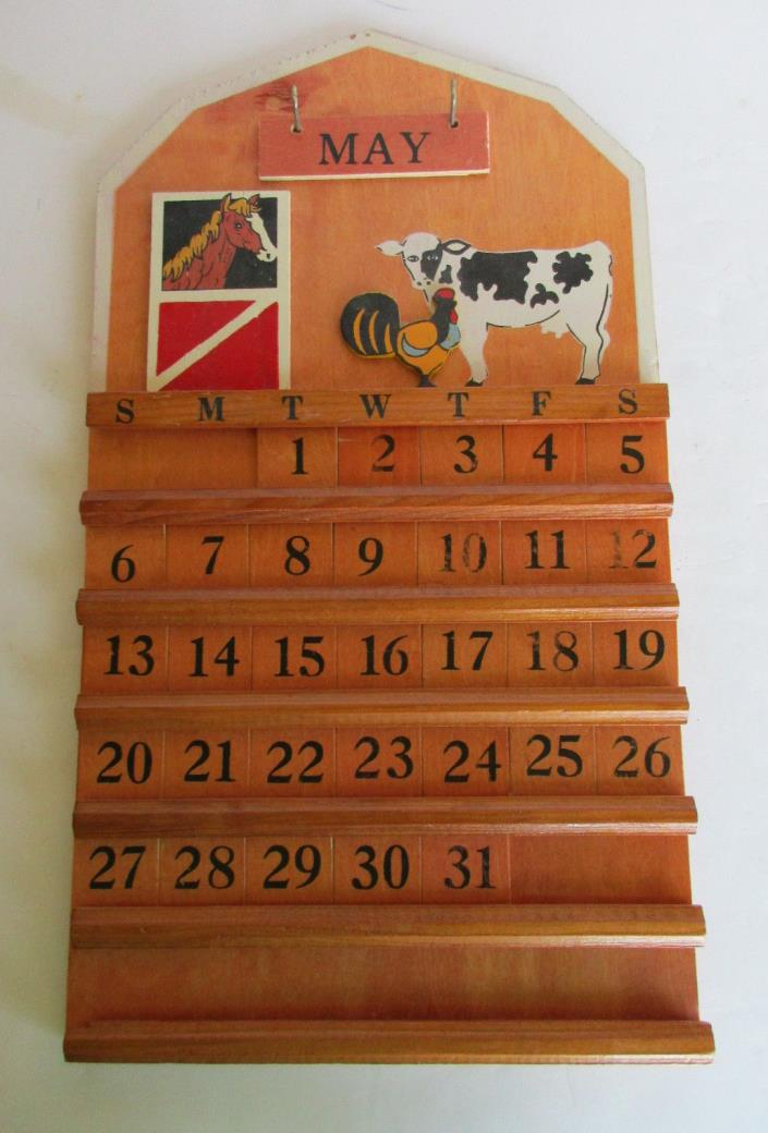 Vintage Perpetual Calendar Farm Barn Cow Chicken Horse Wall Hanging Wood Wooden