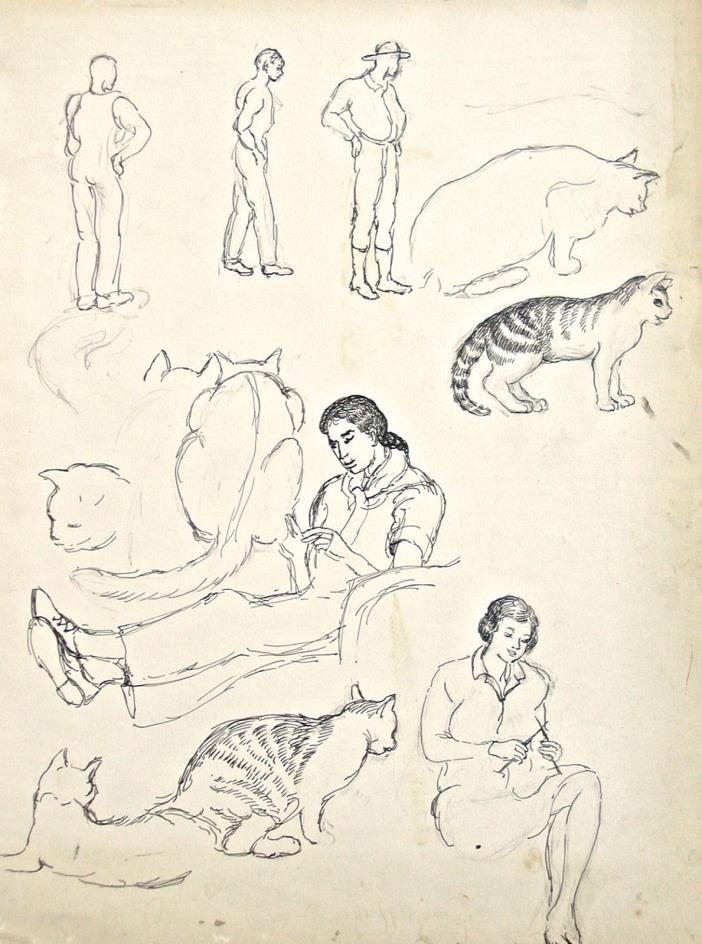 Dorothy Eaton Drawing (XL) Figure Studies and Cats