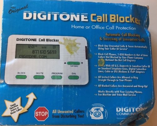 DIGITONE CALL BLOCKER  - BLOCK TELEMARKETERS DEBT COLLECTORS AND POLLERS!!!