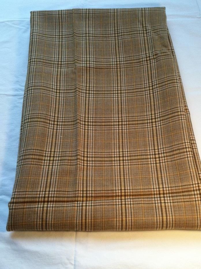 Tan plaid wool fabric