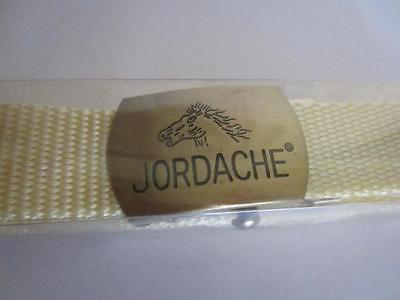 Vintage JORDACHE Jeans Belt Pale Yellow Brass Horse Buckle One Size NEW in Box