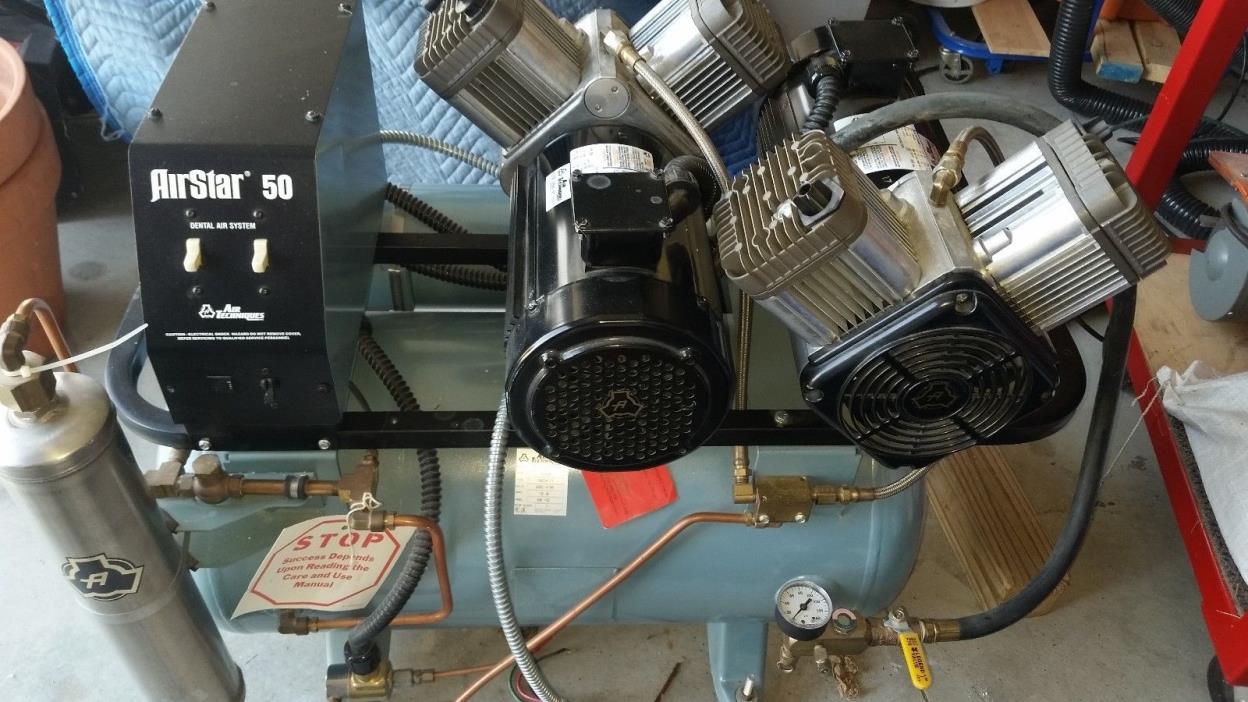 Air Techniques AirStar 50 Dual Head Dental Air Compressor w/ 100 PSI & 3 HP