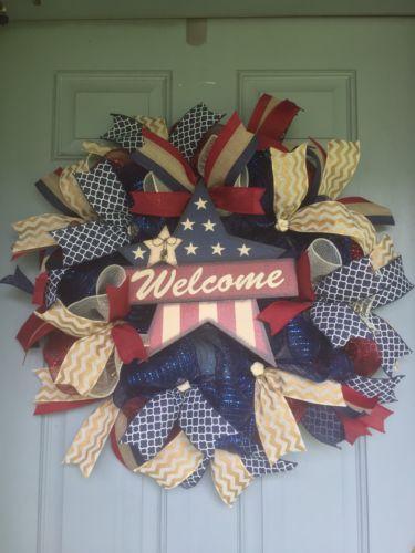 Handmade Patriotic Americana July 4 Memorial Day Wreath