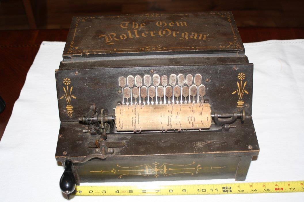 Gem Roller Organ Functional Hand Cranked Organ with one roll