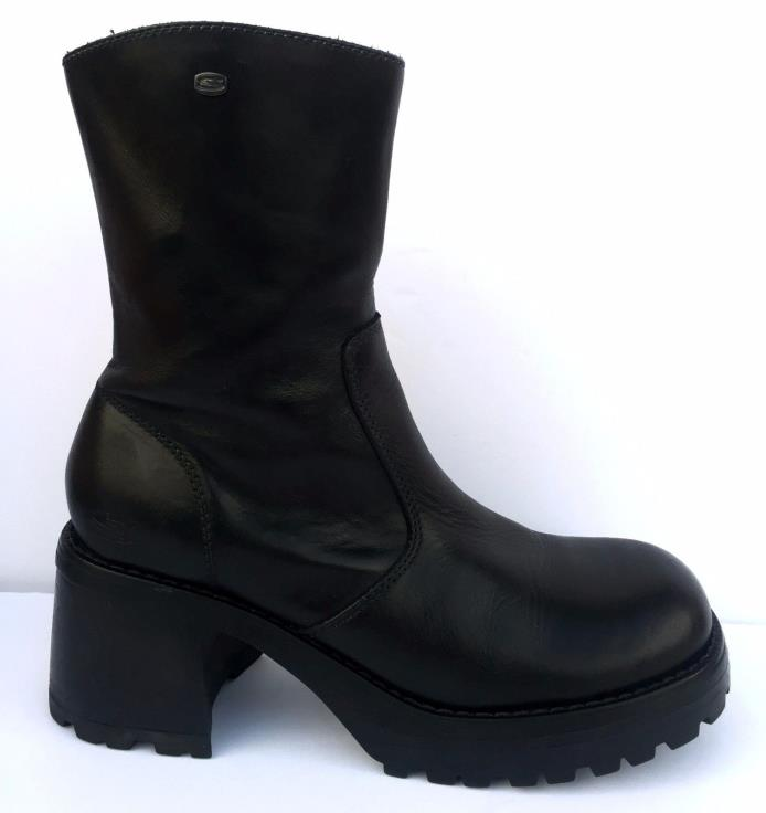 Vtg 90s Skechers LEATHER CHUNKY Platform Boots Calf Ankle Lug Sole Grunge Zip-Up