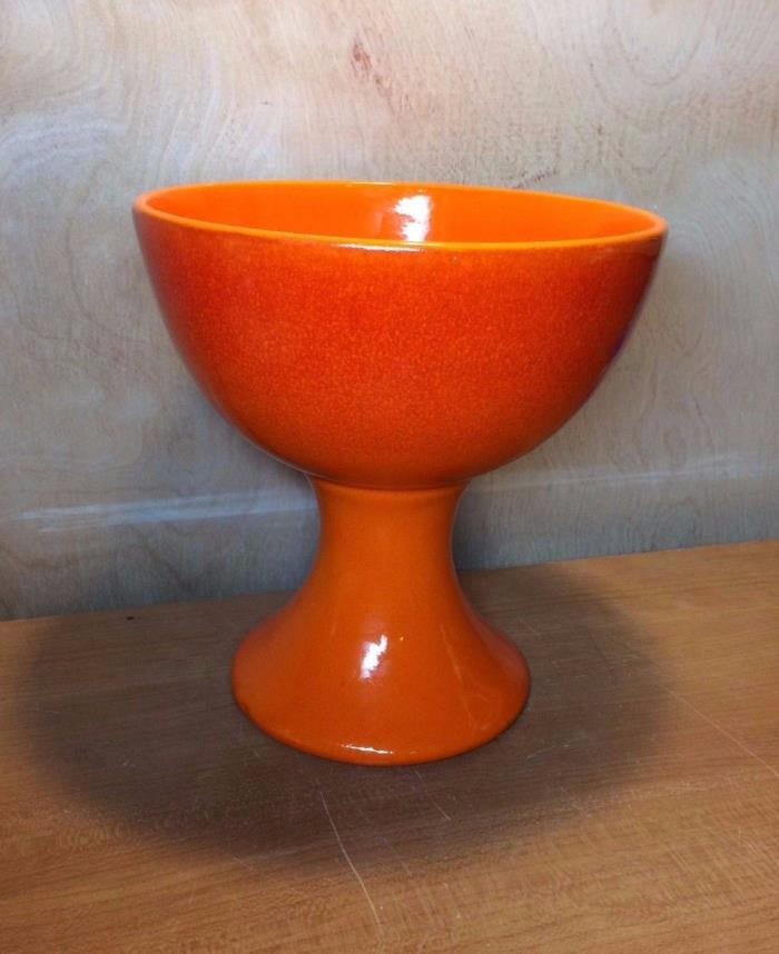 Antique Mid Century Royal Haeger Pottery Orange Candy Dish Bowl on Pedestal