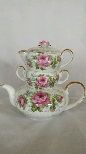 Vintage Lefton China stackable teapot tea set with roses