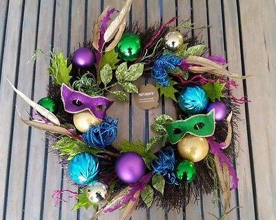 Mardi Gras Wreath Fat Tuesday Mardi Gras Wreath Jester Mask Deco Mesh Wreath