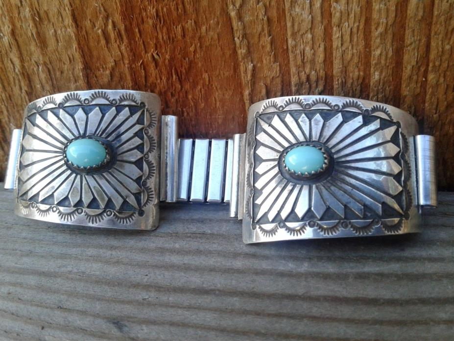 Vintage Native American Sterling Silver & Turquoise Watch Tips Signed
