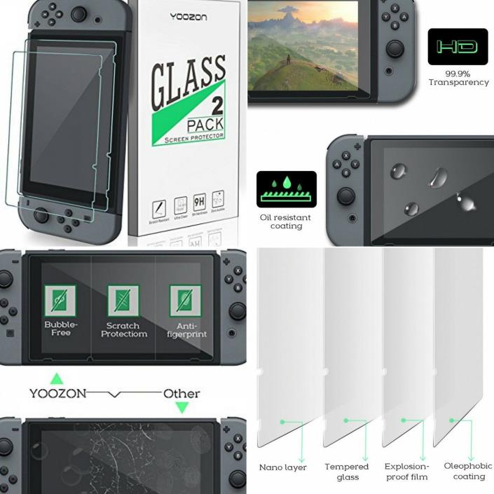 2 Pack Nintendo Switch 2017 Screen Protector Grade A Japanese Tempered Glass 9H